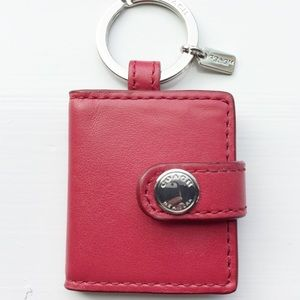 Coach Red Leather Picture Frame Keychain NWOT